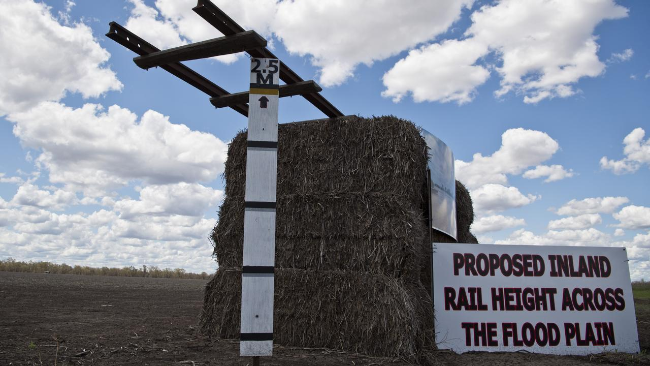 Signs near Pampas protest the proposed inland rail, Tuesday, January 28, 2020. Picture: Kevin Farmer