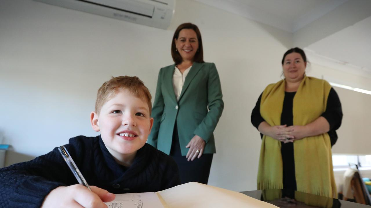 Melanie Higgins, the mum of eight-year-old Oscar, meets with Opposition Leader Deb Frecklington to discuss LNP's education overhaul. Picture: Jamie Hanson
