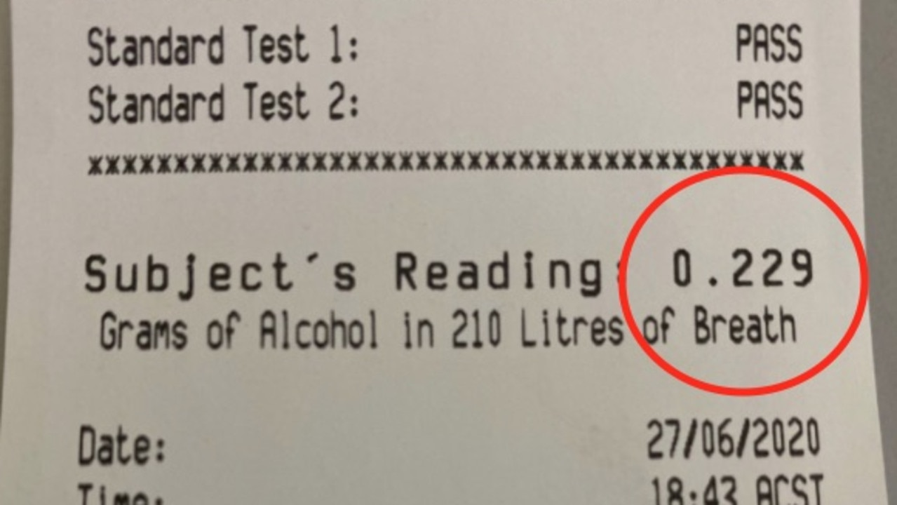 A drunk driver breaching quarantine orders recorded an alcohol reading four times the legal limit in South Australia.
