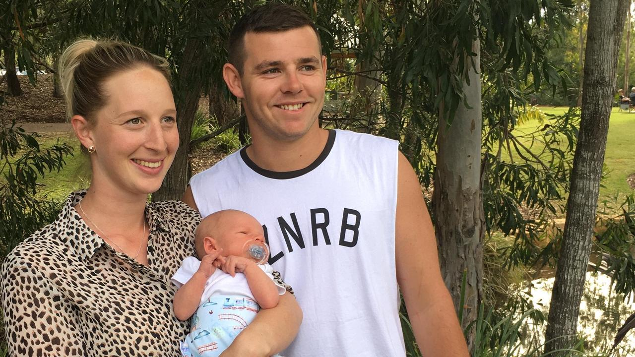 Ipswich cricketer Matt Guest with his fiancee Hayley and son Flynn.