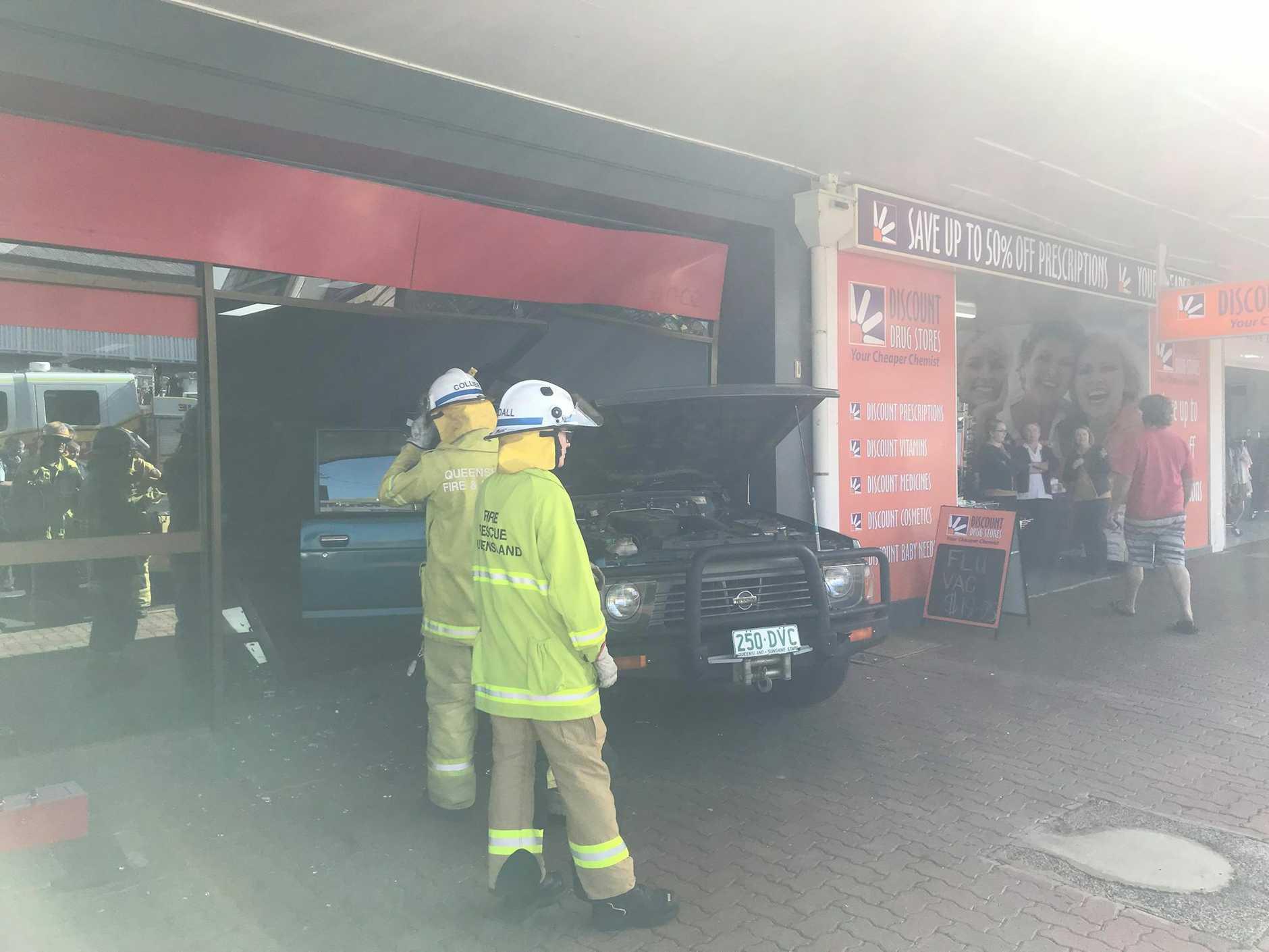 A 4WD has smashed through a shopfront on Kingaroy St, Kingaroy.