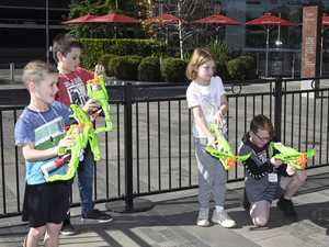 Grand Central school holiday activity Nerf Gun maze .