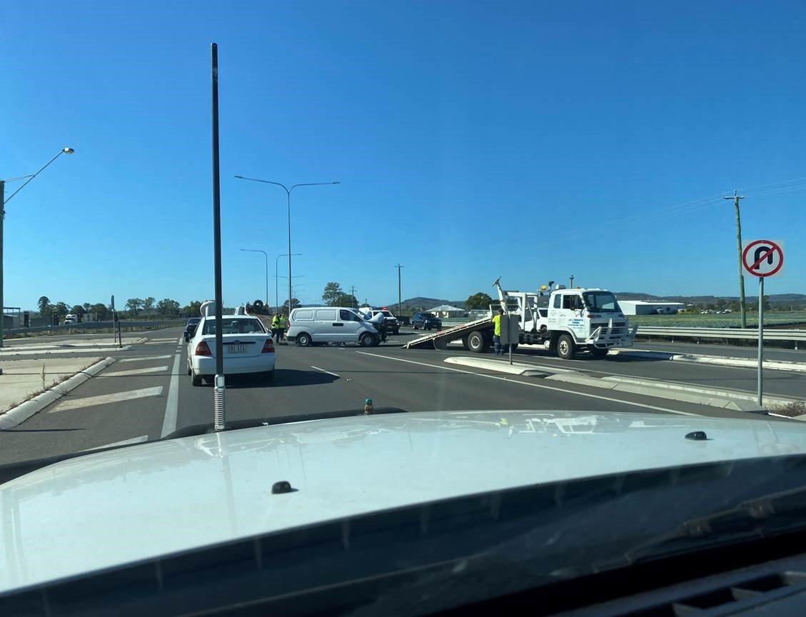 Accident on the Warrego Highway near Crowley Vale.