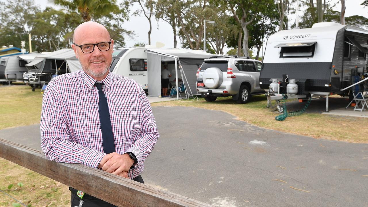 Deputy mayor Darren Everard, pictured at the Torquay Caravan Park, says the council is negotiating with employers to come to the Fraser Coast.