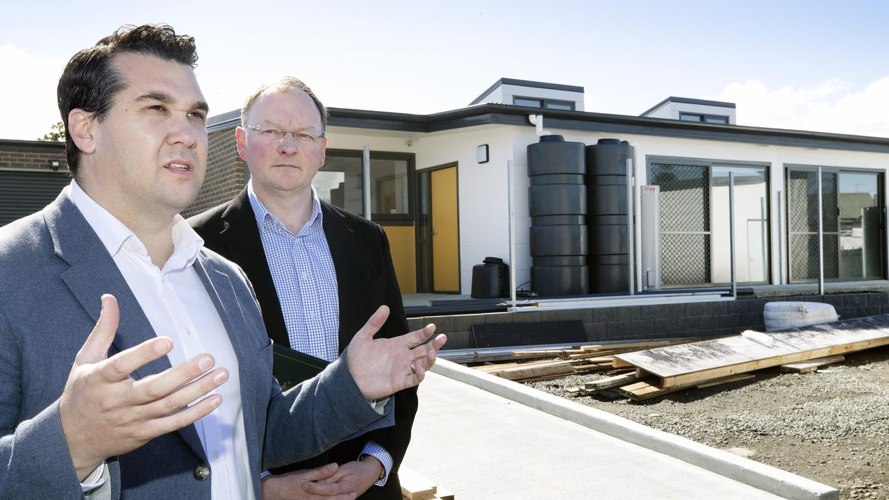 Federal Housing Minister Michael Sukkar and Tasmanian Minister for Housing Roger Jaensch. Minister Sukkar said the First Home Loan Deposit Scheme will help first-time buyers get into the market sooner. Picture: Chris Kidd.