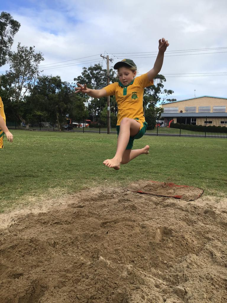 Stage 2 sporting rotations at Westlawn for student Sophie practising the long jump.