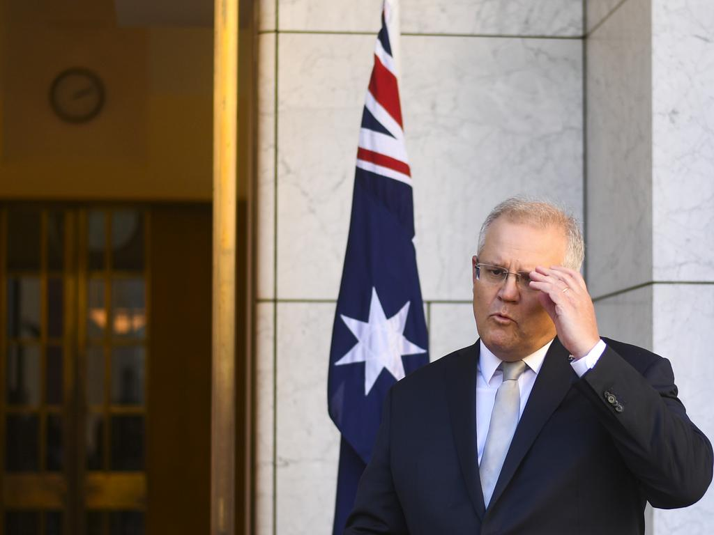 Australian Prime Minister Scott Morrison during a press conference at Parliament House last Friday. Picture: Lukas Coch