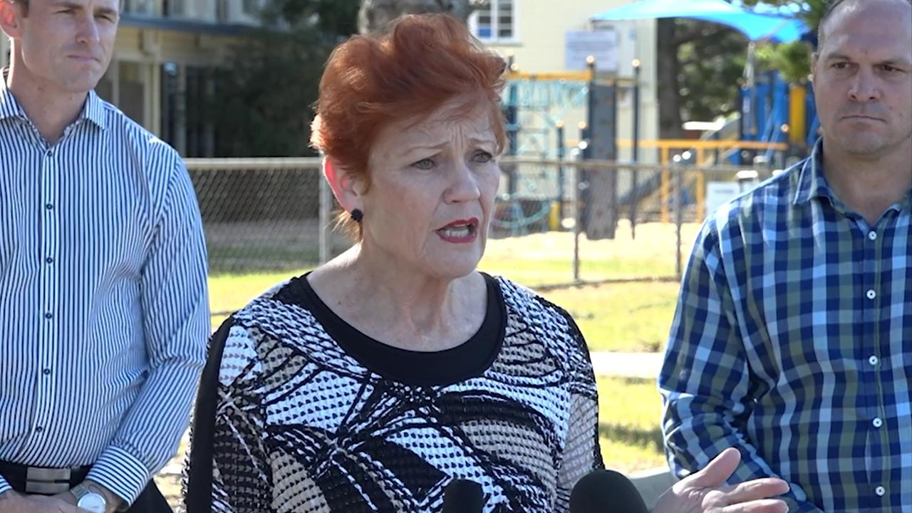 One Nation candidate for Rockhampton Torin O'Brien, Queensland Senator and One Nation leader Pauline Hanson, and Keppel candidate Wade Rothery.
