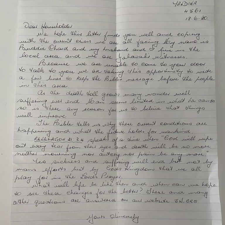 A Nambour resident has reportedly received a handwritten letter from Jehovah's Witnesses who claim the Bible has answers to the current COVID-19 pandemic.