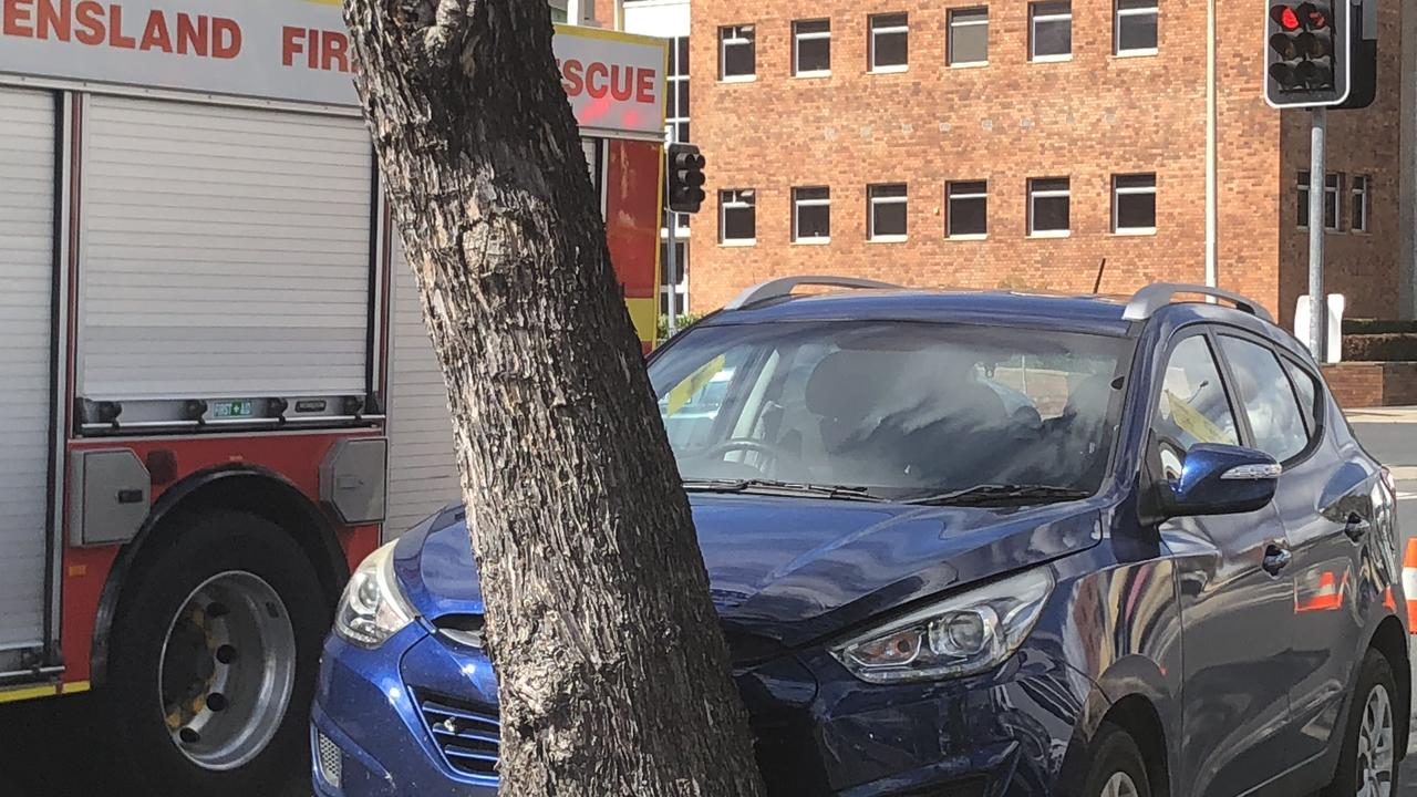 CBD CRASH: A blue SUV has collided with a tree on Bolsover St outside of City Centre Plaza in the Rockhampton CBD.