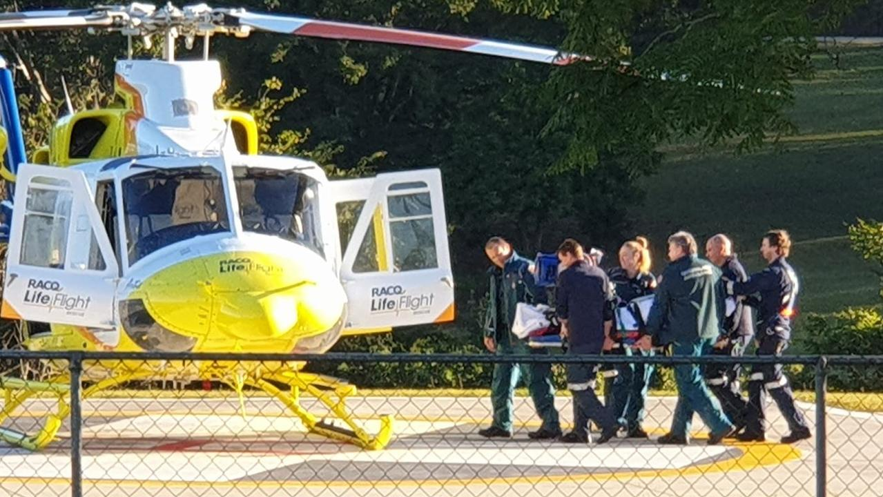 A rescue helicopter is airlifting the patient to hospital in a serious but stable condition. Picture: Frances Klein