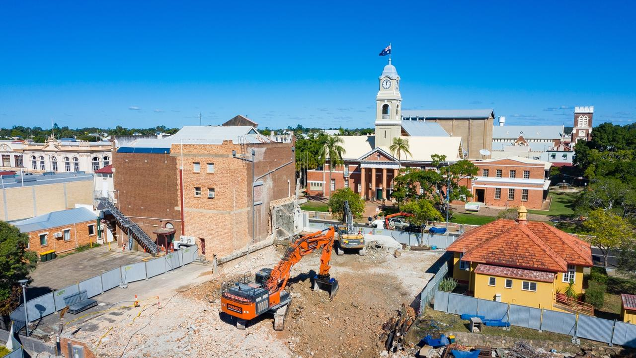 Aaron Skuse Drone shot of the Fraser Coast Regional Council administration building in Maryborough being demolished.
