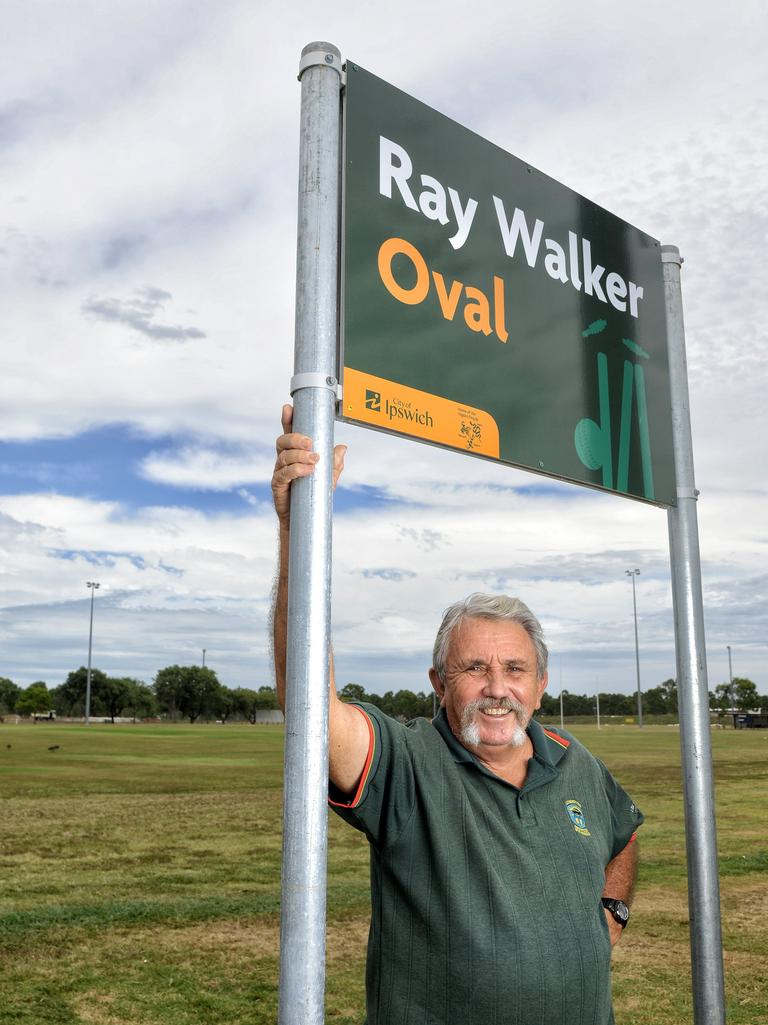 Ray Walker at the cricket field named in his honour. Picture: Rob Williams