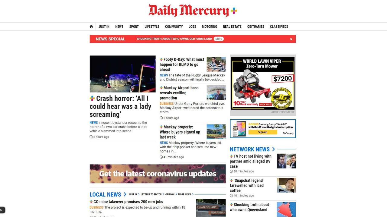 The Daily Mercury website is regularly updated throughout the day with local news.