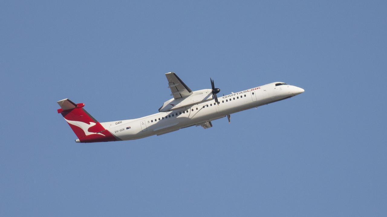 The QantasLink DHC-8 400 Series aircraft.