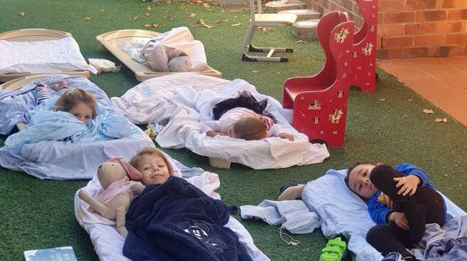 Childcare centre sets up camp with outdoor sleeping program