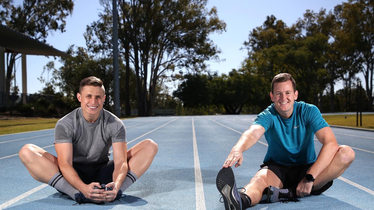 Flight Lieutenants (FLTLT) Luke Brown (left) and Joel Ingram prepare for their upcoming 48 hour challenge.