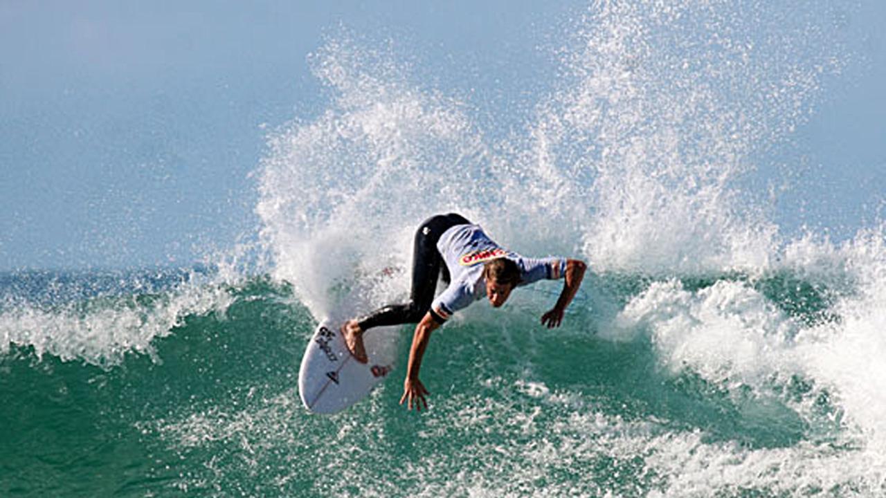 Rainbow Beach surfing legend Noah Lane carves it up.