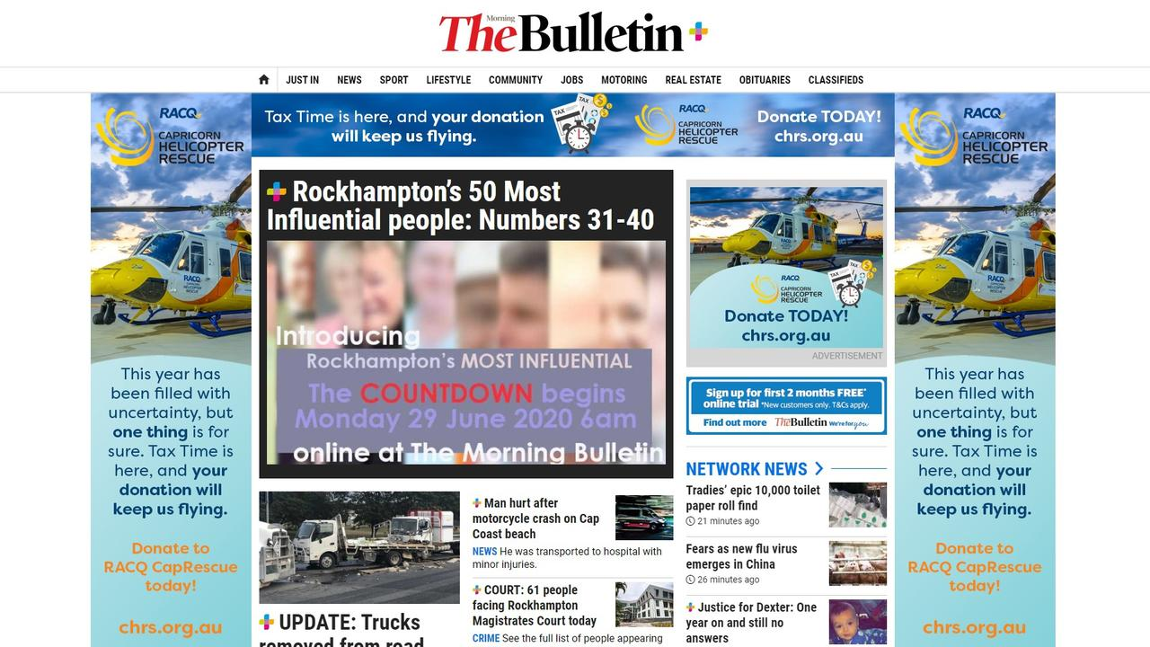 The Morning Bulletin website is regularly updated throughout the day with local news.