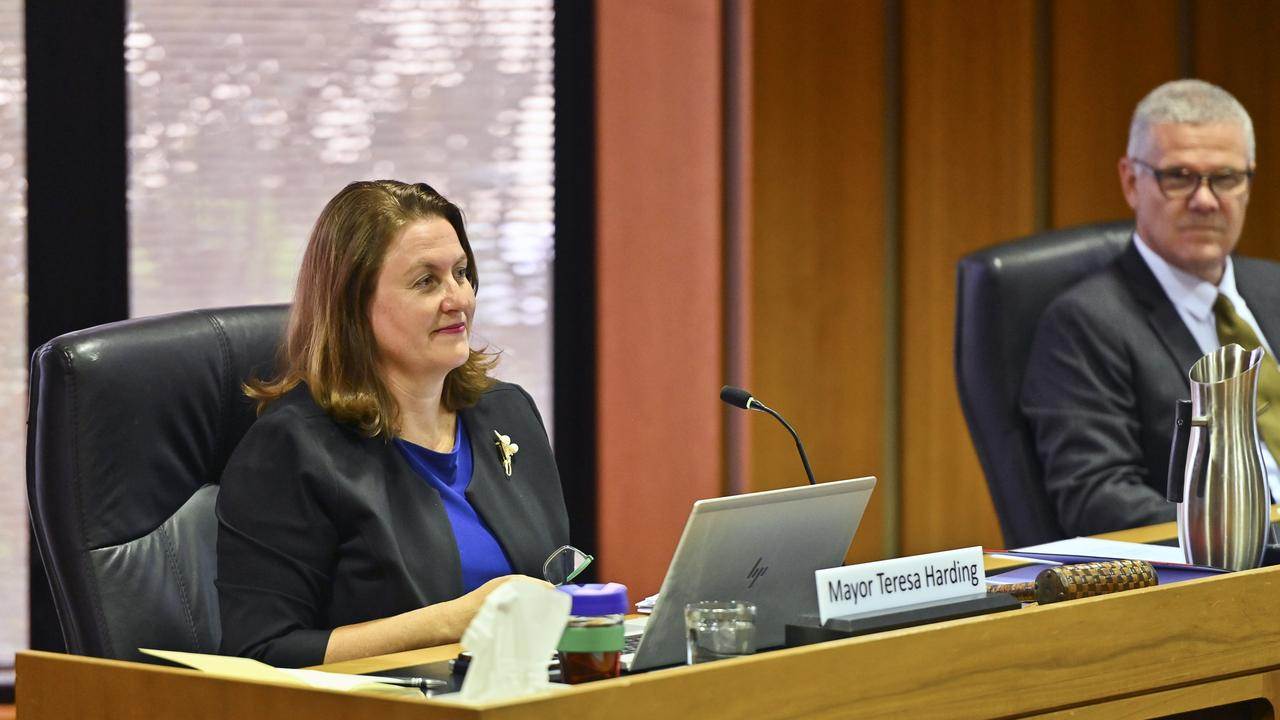 Ipswich City Council mayor Teresa Harding and CEO David Farmer. The council handed down its 2020-21 budget this morning.