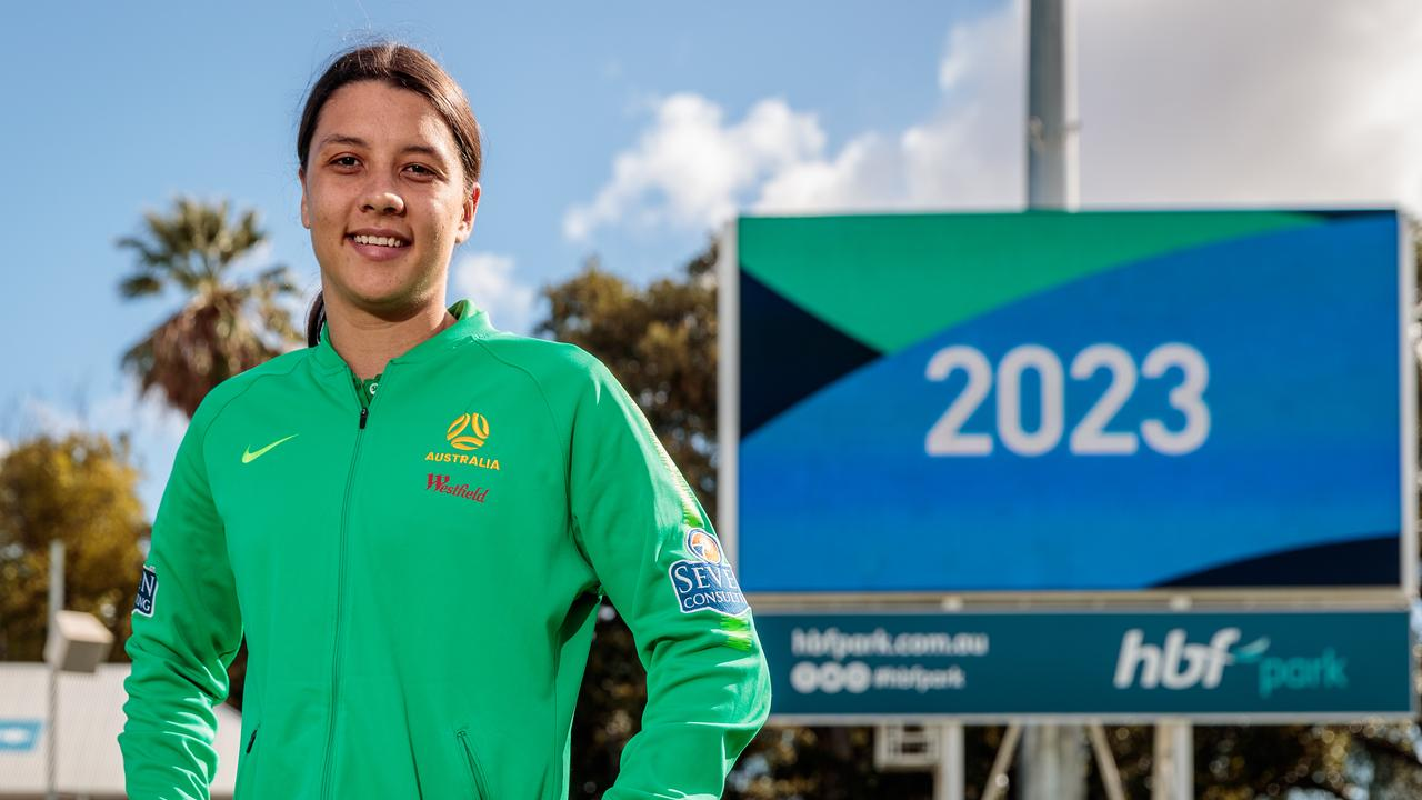 Matildas captain Sam Kerr poses for a photograph before a press conference at HBF Park in Perth, Friday, June 26, 2020. Australia and New Zealand will co-host the Women's World Cup in 2023. (AAP Image/Richard Wainwright) NO ARCHIVING