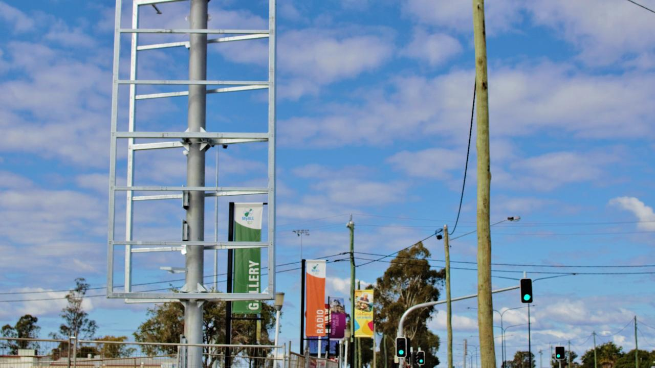 COMMING SOON: WDRC community billboard under construction in Dalby. Pic: Lachlan Berlin.