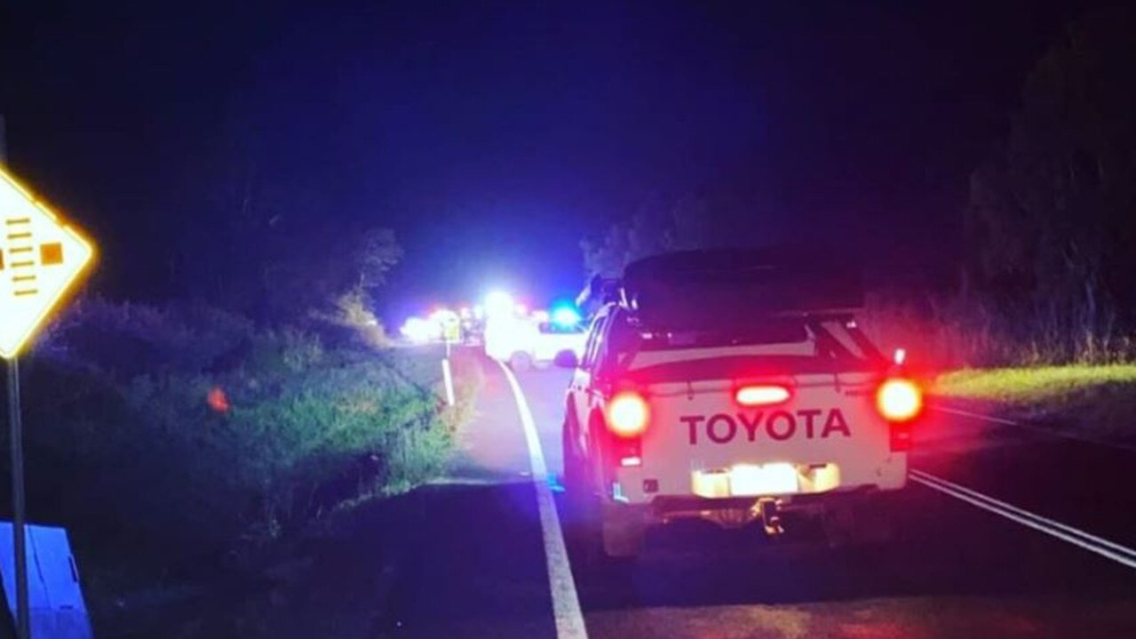 The scene of the crash Jennifer Goostrey and her family was confronted with on Mackay Eungella Rd about 9.15pm Saturday.