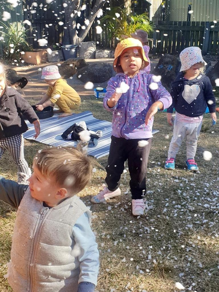 WINTER WONDERLAND: Children at Bundaberg's Paisley Park enjoying a session of messy play.