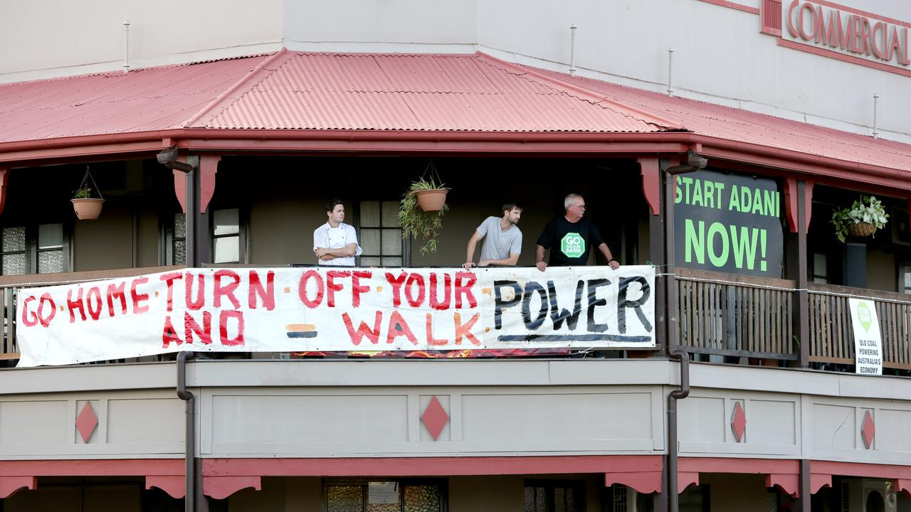 A sight Mine's minister Anthony Lynham would rather not see again. The Commercial Hotel Clermont, during the Protest of the Bob Brown led Anti Adani Convoy, on the Herschel St near the show grounds, Clermont, on Saturday April 27th, 2019 (Image AAP/Steve Pohlner)