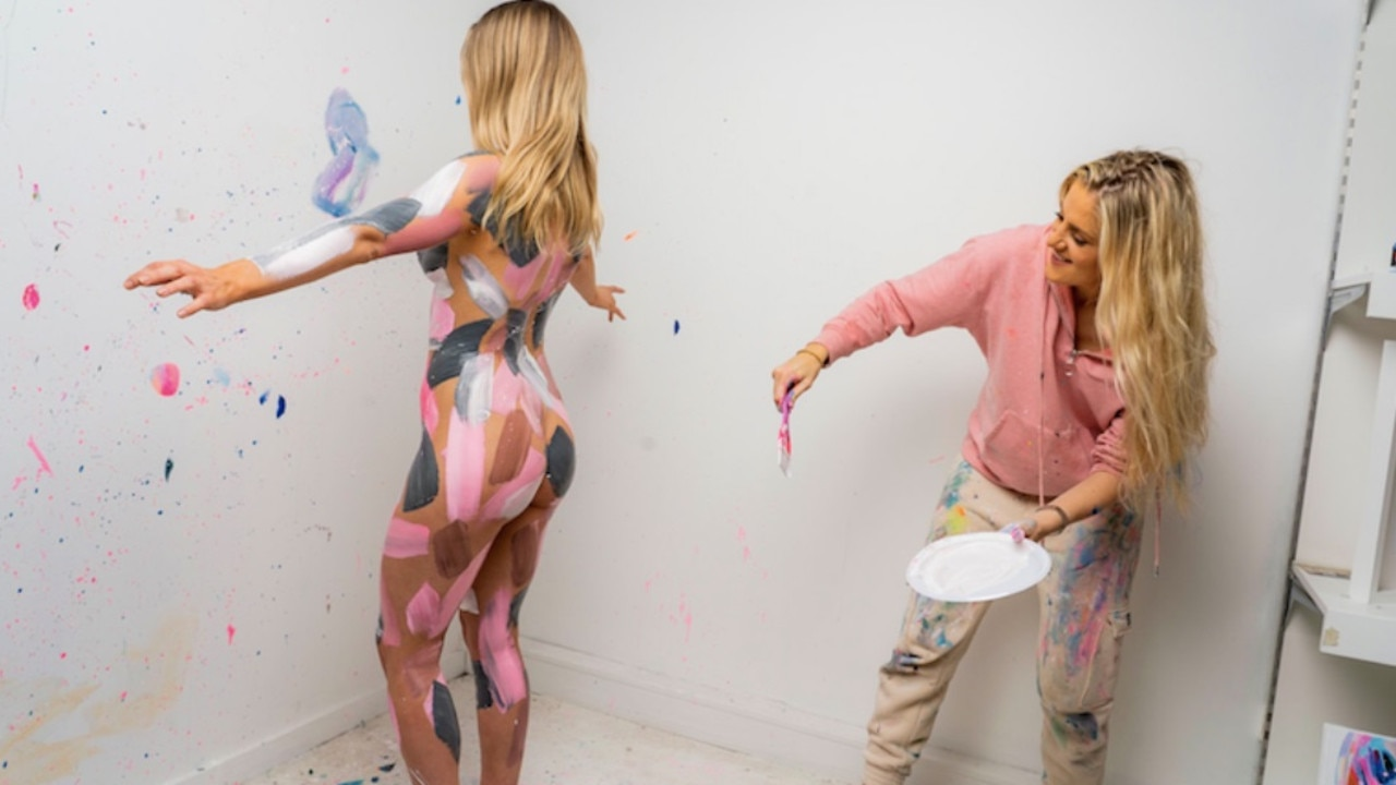 The Manchester-born artist, who now resides in Sydney, used 25 tins of paint to cover the women.