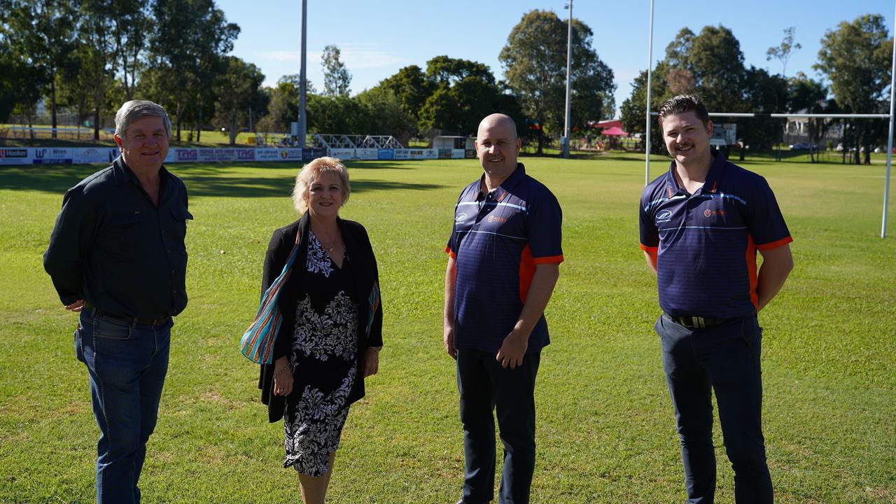 Rockhampton LNP Candidate Tony Hopkins, Capricornia MP Michelle Landry and Rocky Sports Club Gavin Shuker and Jack Hughes.