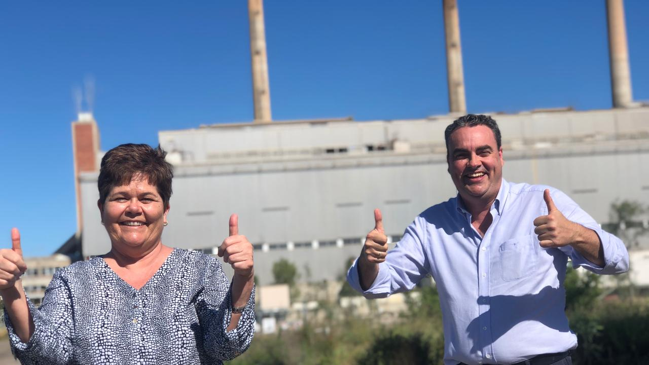 NQ First's candidate for Burdekin Carolyn Moriarty and NQ First Leader and Whitsunday MP Jason Costigan visited the Collinsville power station to announce a $400 million pledge for a new station if the party secures the balance of power at the upcoming state election.