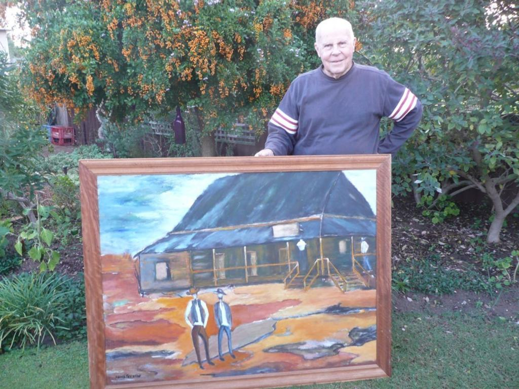 Former Eidsvold local Milton Ansell and this historic North Burnett painting. Picture: Contributed