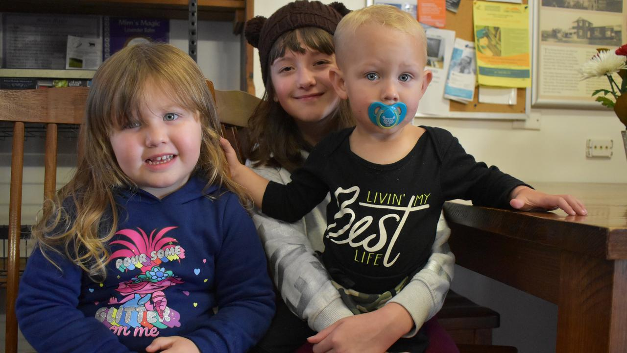 Mackay residents Olivia Mackey, 4, Mickaylah Black, 10, and Weston Mackey, 2, were at the store with their parents, making the pit stop many families do when they visit Eungella. Picture: Heidi Petith