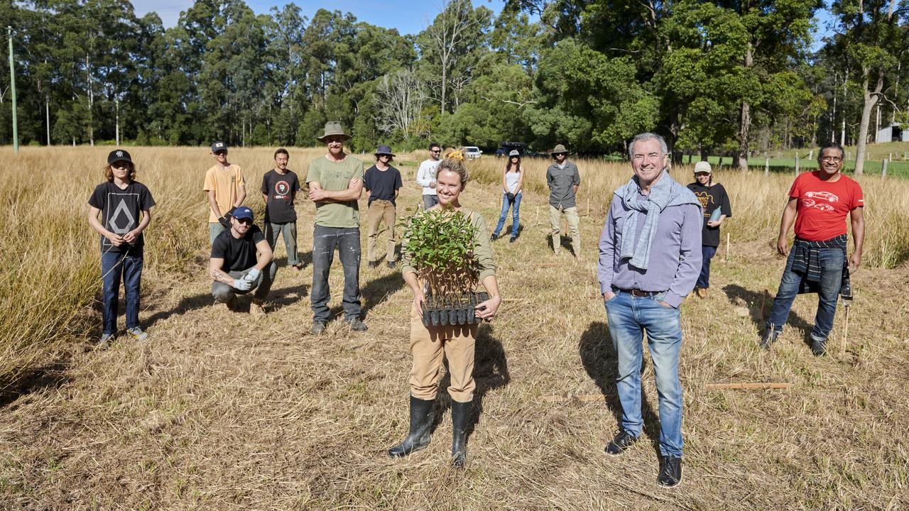 Hayley Talbot and volunteers with member for Clarence Chris Gulaptis who announced grant for koala tree planting project near Mororo.