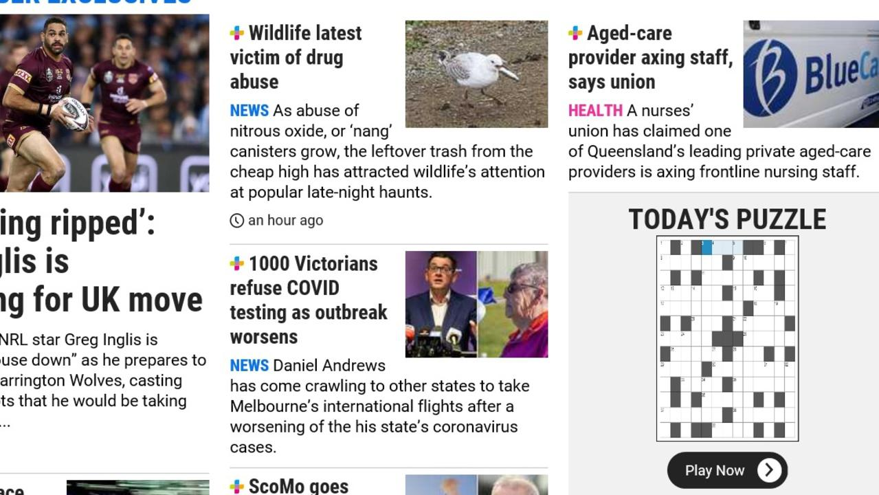 Puzzles page as the link appears on the home page of The Gympie Times website