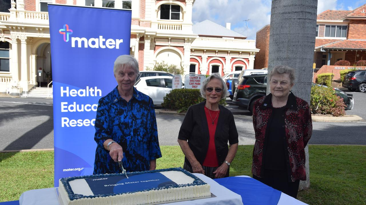 Mater Misericordiae Rockhampton staff celebrate the merger with Mater as one private statewide network.