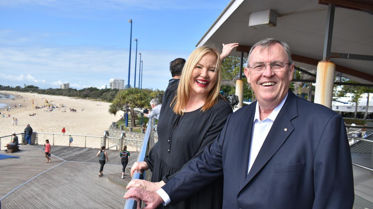 Visit Sunshine Coast chair David Ryan with 92.7 Mix FM announcer Caroline Hutchinson. Picture: Laura Pettigrew.