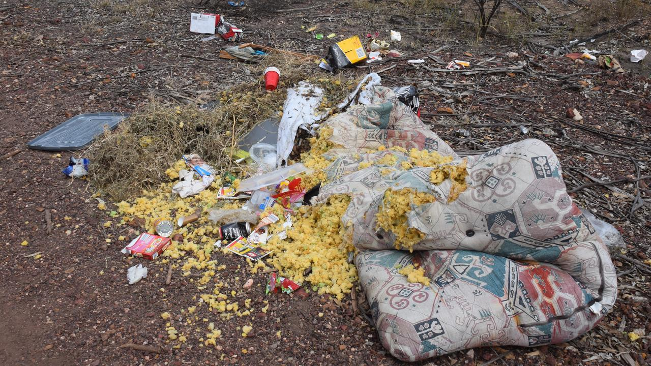 Dirty nappies, Bundaberg Rum and ripped apart cushions were among the items dumped in the Wondai mountain bike trail car park this morning. (Picture: Tristan Evert)
