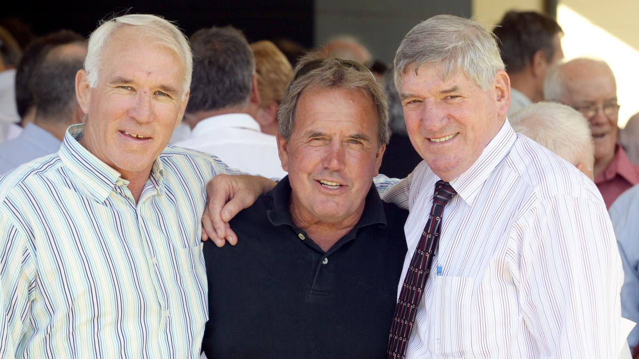 Norm Carr (left) with Greg Oliphant and John McDonald. Picture: Mark Cranitch
