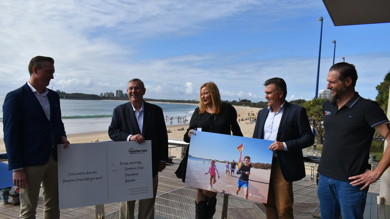 Accor regional general manager – Northern Qld, NT and NZ Winston Hall, Visit Sunshine Coast chair David Ryan, 92.7 Mix FM announcers Mark Darin (right end) & Caroline Hutchinson and Visit Sunshine Coast interim CEO Craig Davidson pictured with the postcards.