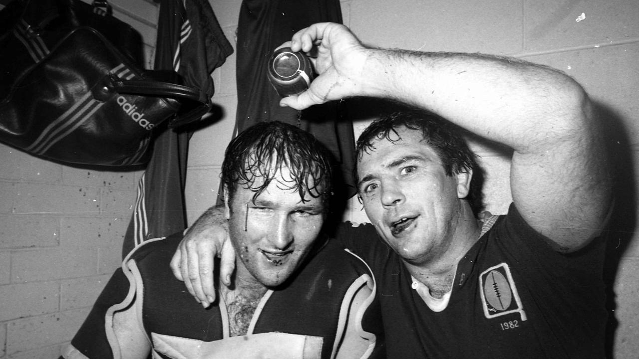 Rohan Hancock and Rod Morris celebrate Queensland's 11-7 win in 1982. Picture: Jim Fenwick