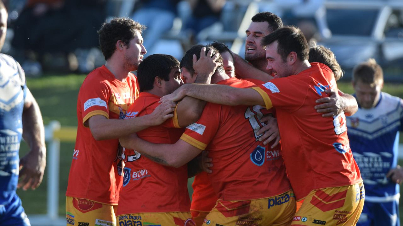 GOOD MEMORIES: The Coffs Harbour Comets celebrate a try the last time they met the Grafton Ghosts.