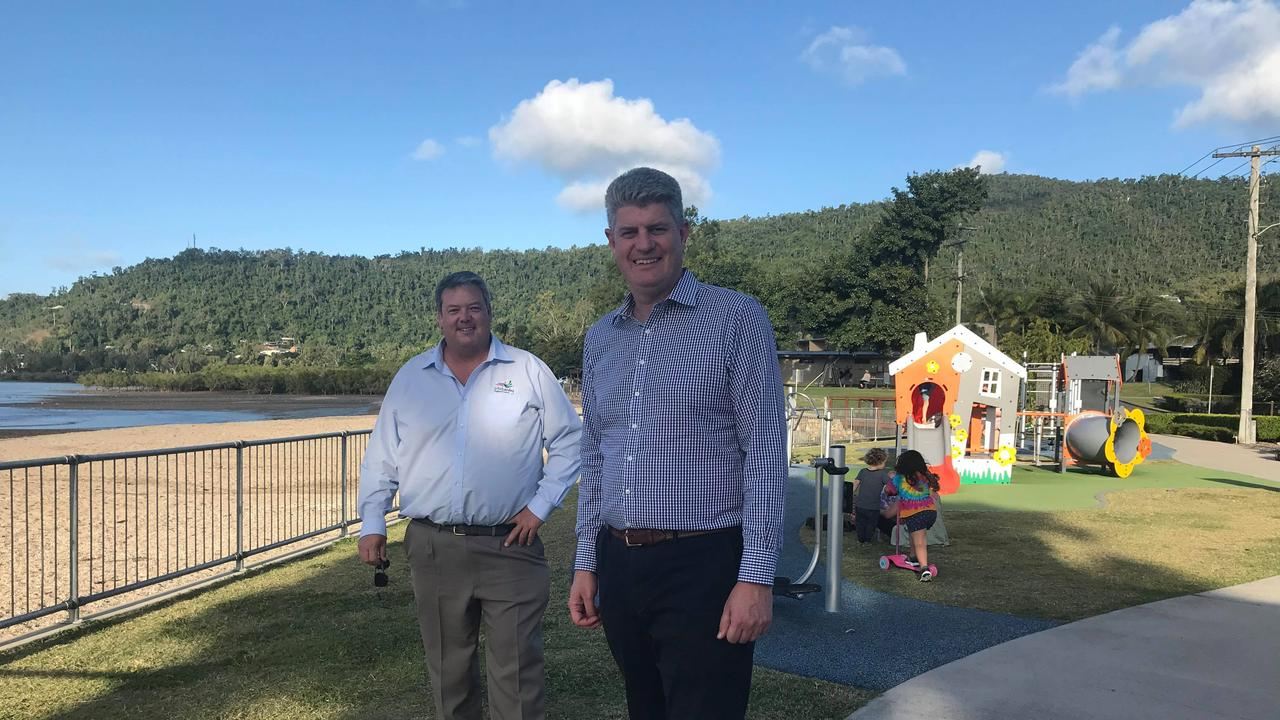Whitsunday Regional Council Mayor Andrew Willcox and Local Government Minister Stirling Hinchliffe at Cannonvale Beach.