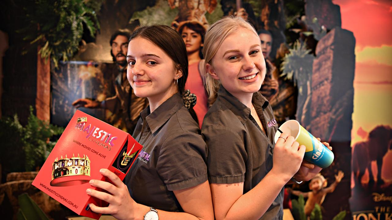 FILE: School holidays at Majestic Cinemas in Nambour Grace Colville-Felsman and Chloe Dunne welcome locals and visitors to the complex. Picture: Warren Lynam.
