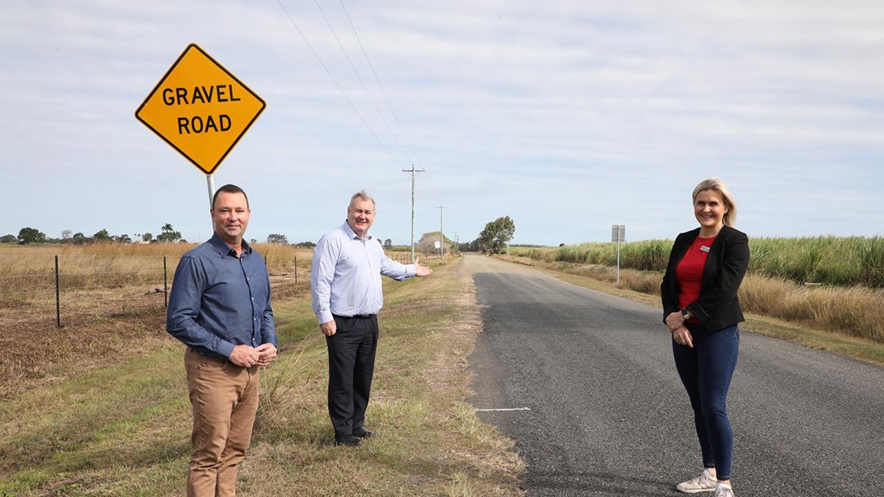 Mayor Jack Dempsey, Cr Jason Bartels and Cr Tracey McPhee at Batchlers road which will be upgraded.