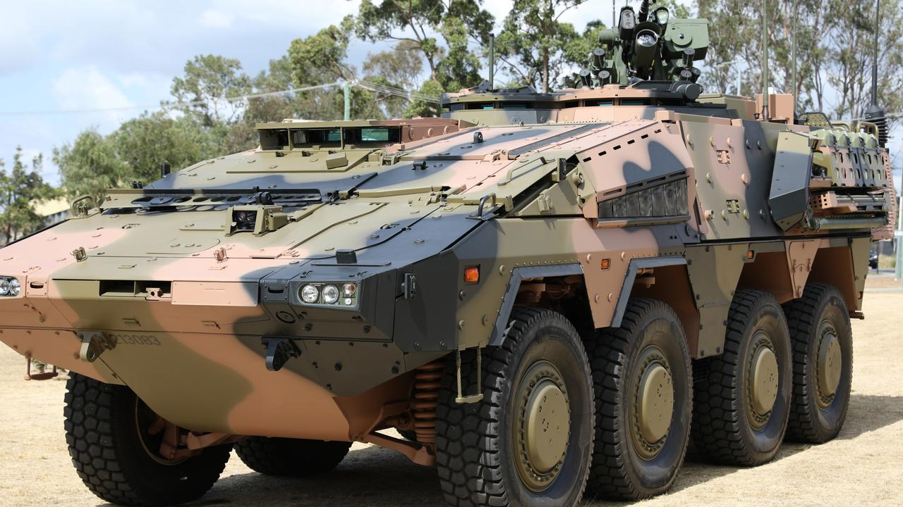 The Australian Army's first Boxer vehicle at Enoggera Barracks, Brisbane. Part of the $5 billion The LAND 400 phase two program in Queensland, which will play into the $270 billion defence spend over the next decade. Picture: Supplied