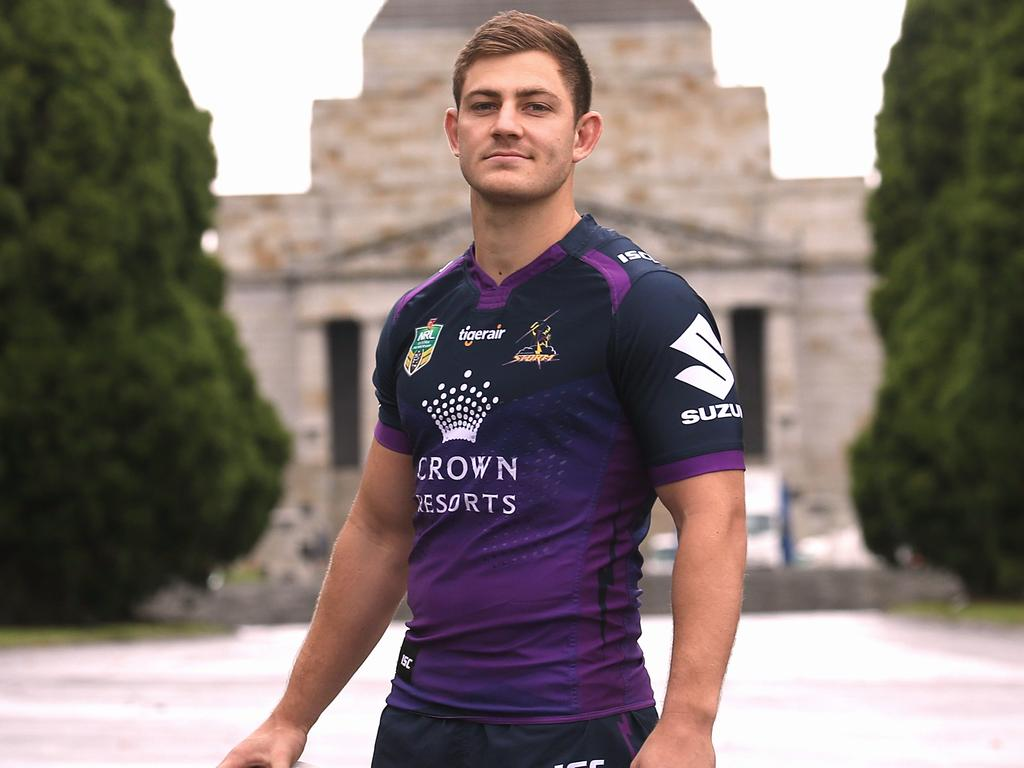 Melbourne Storm playmaker Ryley Jacks fended off Cooper Johns to start against the Sydney Roosters Picture:Wayne Ludbey