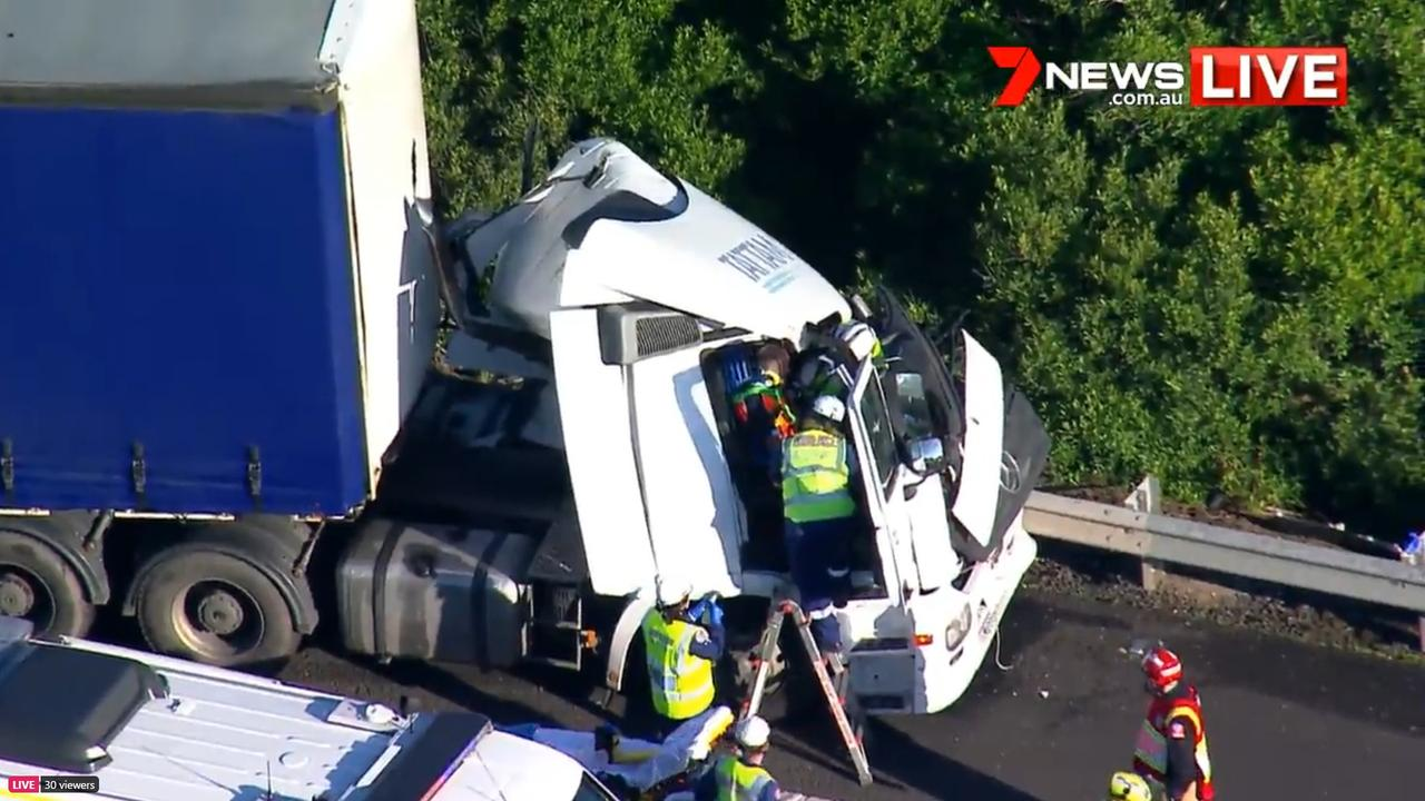 Northbound traffic is backed up, leaving peak-hour commuters with long delays. Picture: 7News