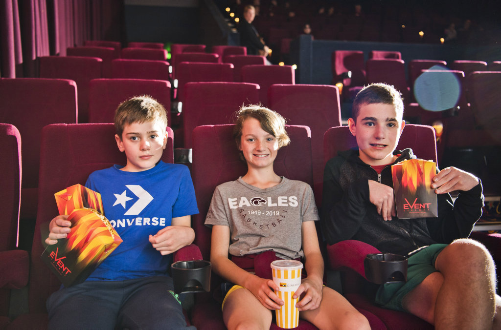 Phoenix Taylor, Hudson Strong and Taj Taylor found the front seats for their first trip to the movies for a long time.